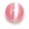 "Cat Eye Beads 8mm Round Light Pink Strand 16"" Fibre Optic"